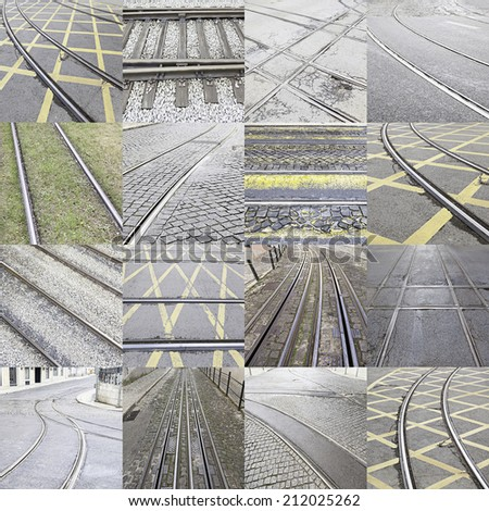 Collage of a railway, a detail of inland transport routes - stock photo
