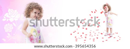 Collage of a sweet female child, that is playing with roses petals and dressed with flower fantasy dress