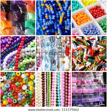 Collage of a variety of beads for necklaces - stock photo