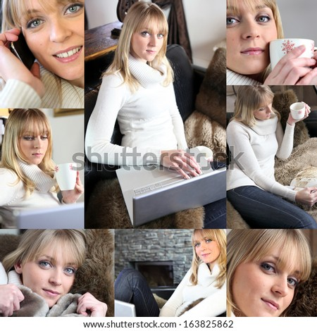 Collage of a woman enjoying her leisure time