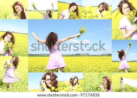 collage of a young girl in a yellow field - stock photo