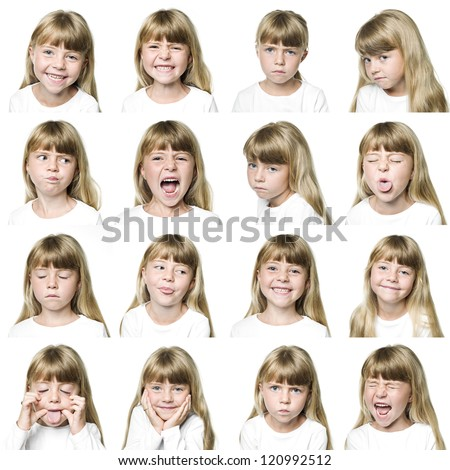 Collage of a young girl isolated on white background - stock photo