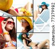 Collage of a young lady enjoying her summer vacations - stock photo
