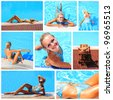 Collage of a young woman enjoying the swimming pool - stock photo