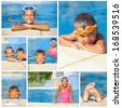 Collage of activities on the pool. Cute kids in swimming pool - stock photo