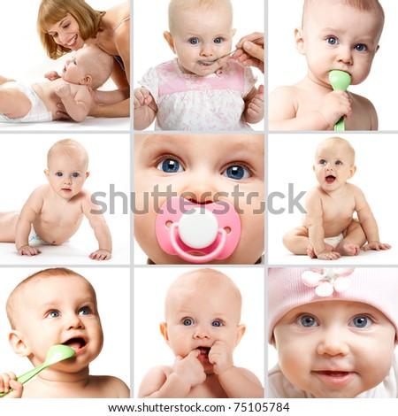 Collage of adorable babies over white background - stock photo
