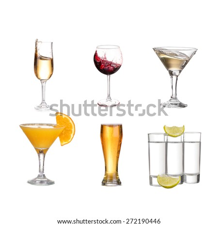 Collage of alcohol drinks. isolated on white - stock photo