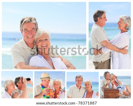 Collage of an elderly couple enjoying moments on a beach - stock photo