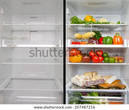 Collage of an empty and full refrigerator - stock photo