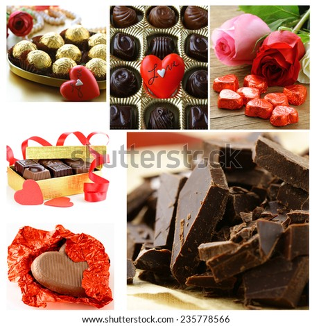 collage of assorted chocolate candy gift for holiday Valentine's Day - stock photo