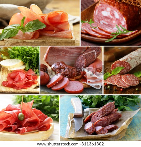 collage of assortment of sausage and smoked meat - stock photo