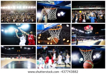 Collage of basketball photos - ball in hoop, refocused players, fans and stadium - individual pictures can be found in my gallery
