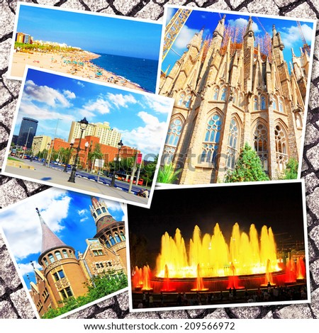 Collage of beautiful Barcelona. Catalonia. Spain  - stock photo