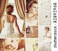 Collage of beautiful blonde bride with short hair wearing a white satin wedding dress with bead embroidery she did herself - stock photo