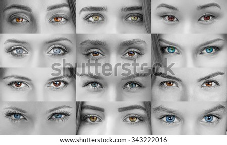 Collage of beautiful female eyes of different colors - stock photo