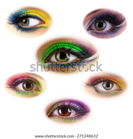 Collage of beautiful female eyes with bright make-up, isolated on white