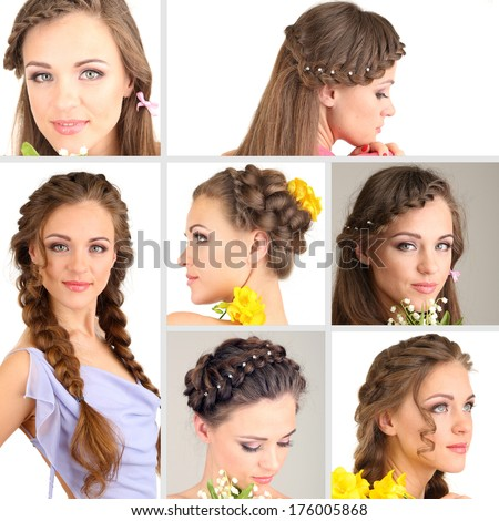 Collage Beautiful Girl Different Hairstyles Stock Photo 176005868 ...