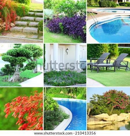 Collage of beautiful nature landscaping - stock photo