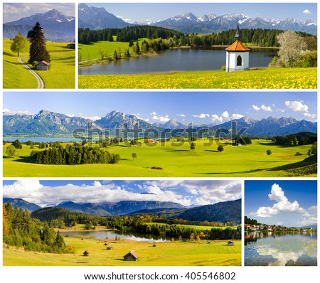 Collage of beautiful panorama landscape in Bavaria with mountains and lakes - stock photo