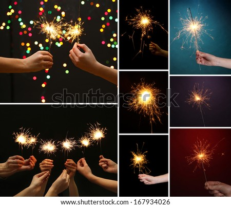 Collage of beautiful sparkler in hands - stock photo