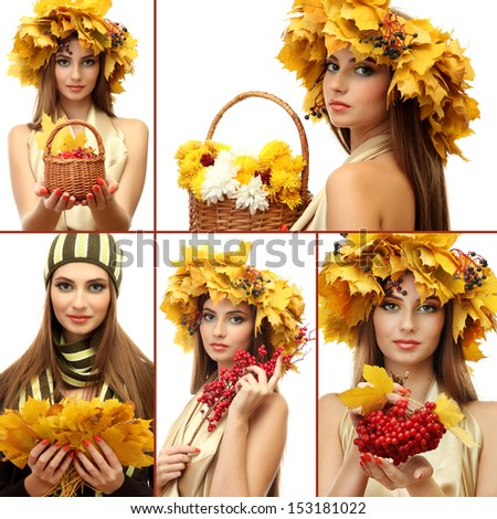 Collage of beautiful woman with autumn leaves - stock photo