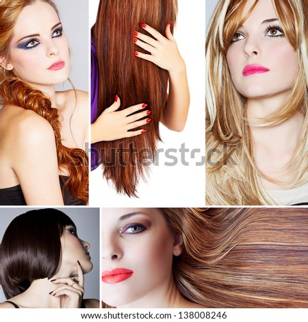 collage of beautiful young woman photos with different hairstyles from long blond hair to short on studio background  - stock photo