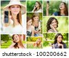 Collage of beautiful young women talking on cell phone and read sms in summer city park. - stock photo