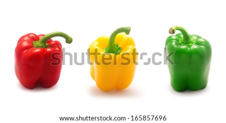 collage of bell pepper isolated on white background - stock photo
