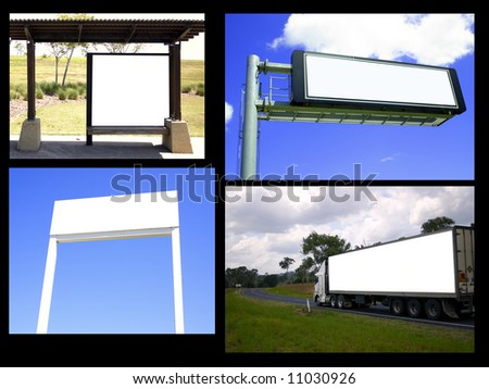 collage of billboards from my collections. - stock photo