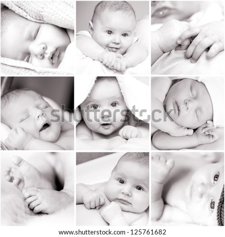 collage of black-and-white baby's photos - stock photo