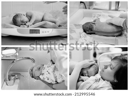 Collage of black and white shots of newborn baby right after delivery  - stock photo