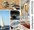 Collage of boat and maritime equipments images - stock photo