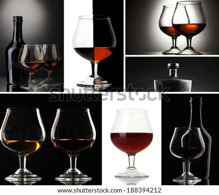 Collage of brandy glasses - stock photo