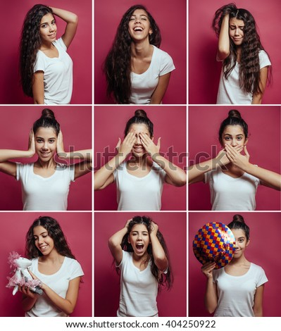 Collage of brunette girl with different facial expressions. Nine beautiful photos of one girl face - stock photo