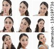 Collage of brunette woman on white background - stock photo