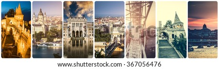 collage of Budapest sights at night - stock photo