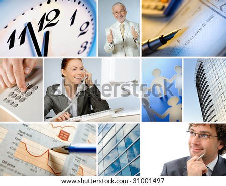 Collage of business images - stock photo