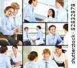 Collage of business partners negotiating and making agreements - stock photo