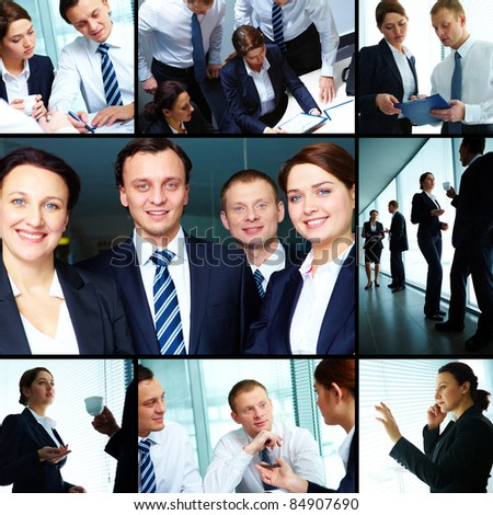 Collage of business partners working together
