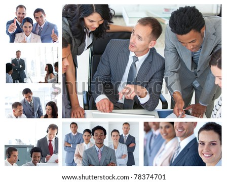 Collage of business people at work - stock photo