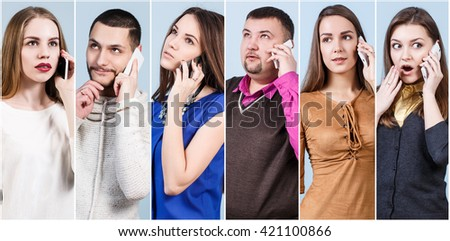 Collage of business people speaks on the phone - stock photo