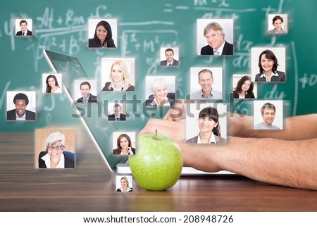 Collage of business people with hand using laptop by green apple representing global communication