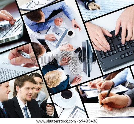 Collage of business people working - stock photo