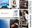 collage of business situations in modern world with companies and their workers - stock photo