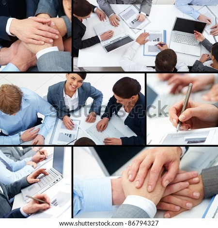 Collage of business team at work and symbols of partnership - stock photo