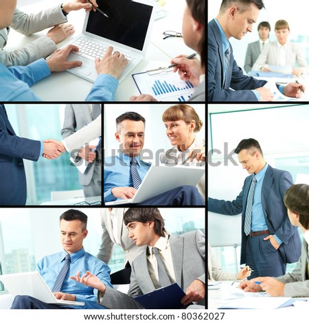 Collage of business team of three planning work in office