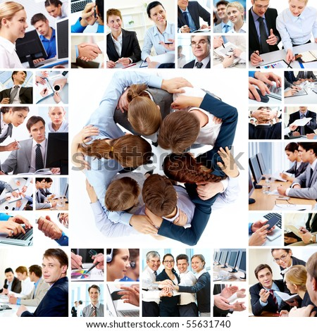 Collage of business teams working together, technology and partnership concepts - stock photo