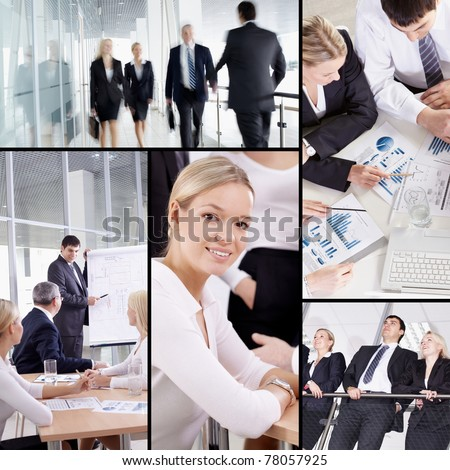 Collage of businesspeople in different situations - stock photo
