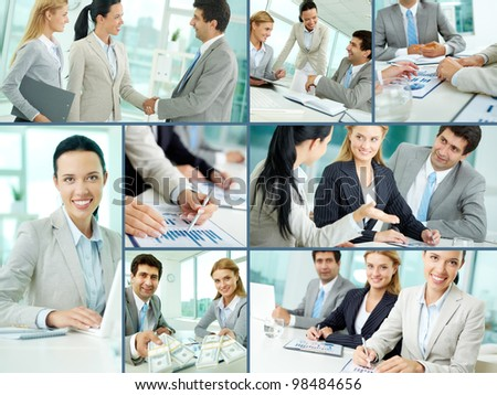 Collage of businesspeople working in office