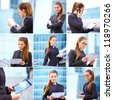Collage of businesswoman working on digital tablet outdoor over building background - stock